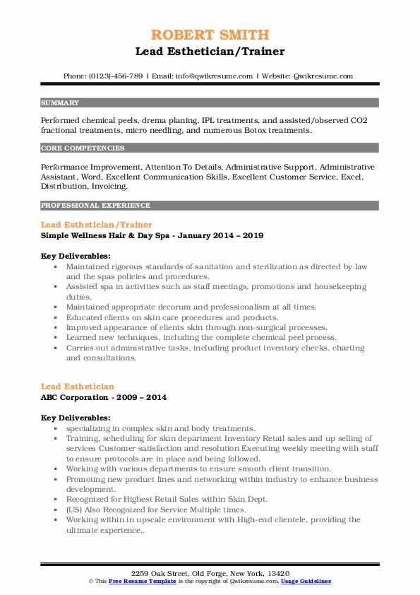 Lead Esthetician/Trainer Resume Model