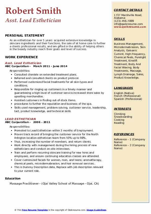 Asst. Lead Esthetician Resume Format