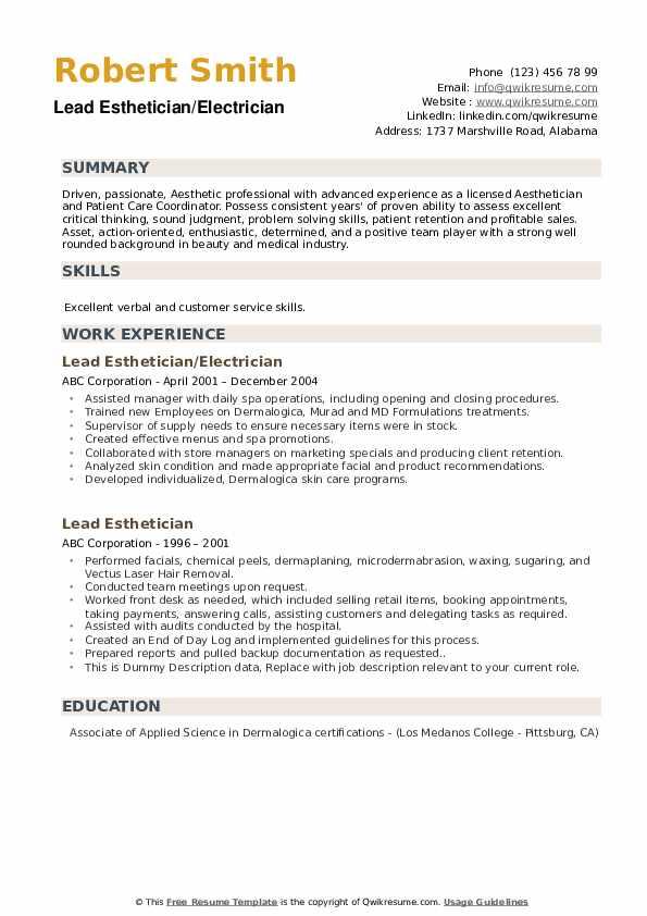 Lead Esthetician/Electrician Resume Sample