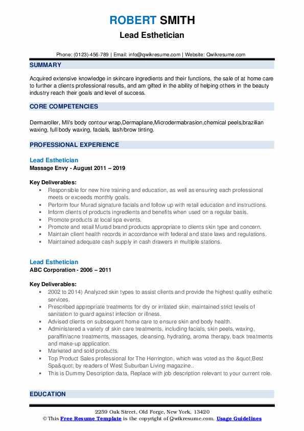 Lead Esthetician Resume example
