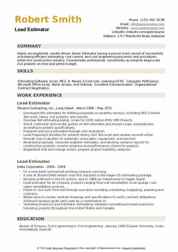 Lead Estimator Resume example