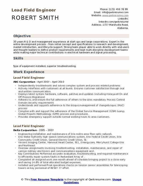 Lead Field Engineer Resume example