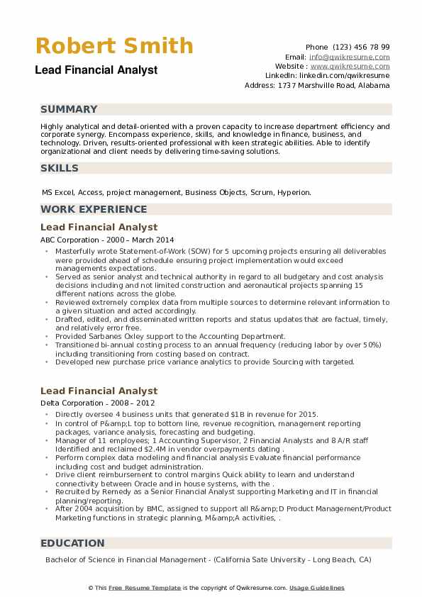 Lead Financial Analyst Resume example