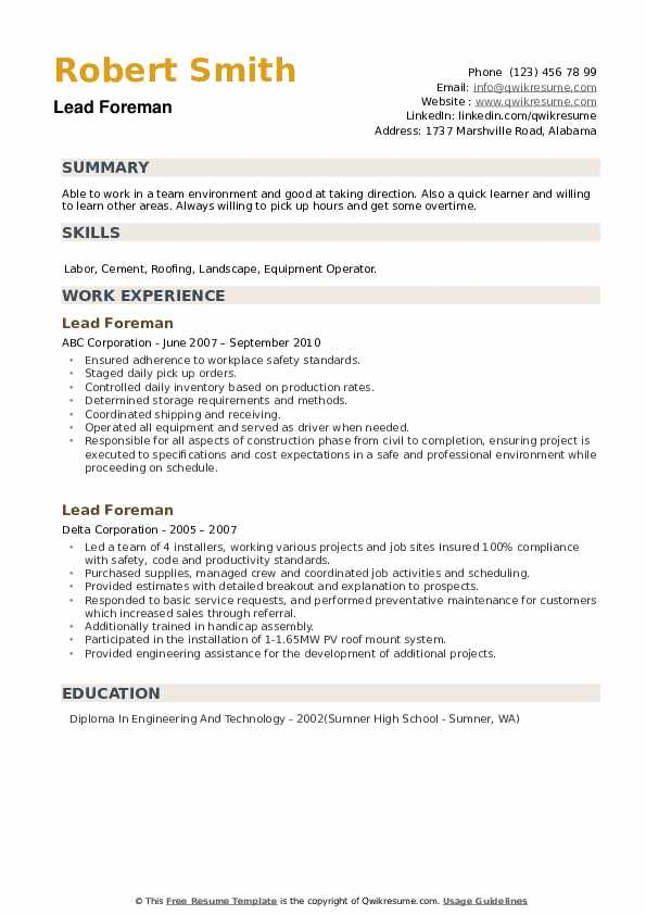 Lead Foreman Resume example