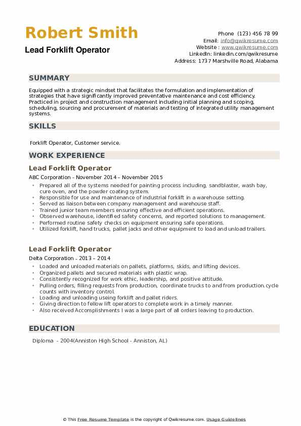Lead Forklift Operator Resume example