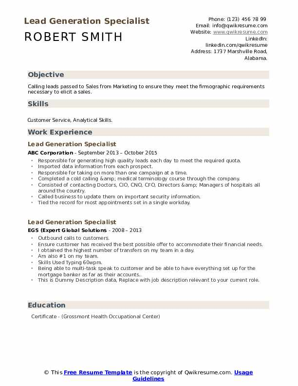 Lead Generation Specialist Resume example