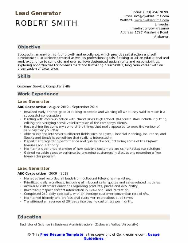 Lead Generator Resume Template