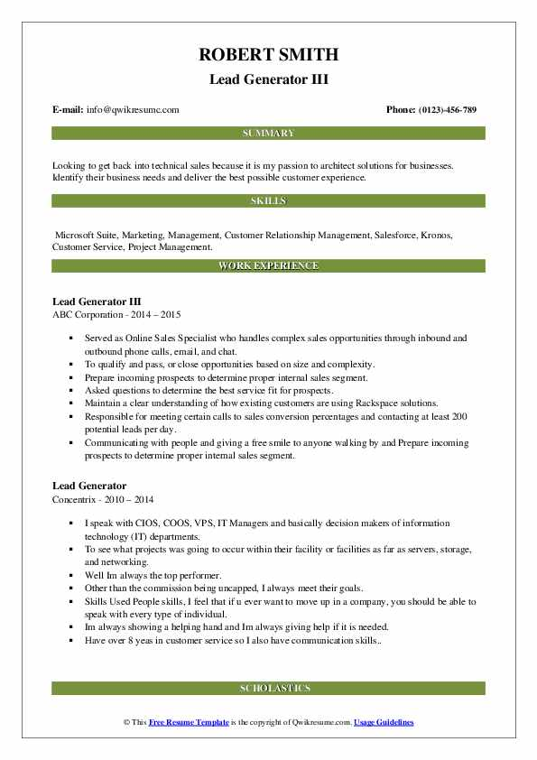 Lead Generator III Resume Template