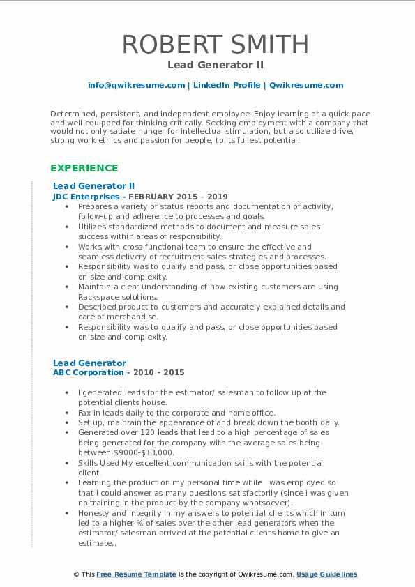 Lead Generator II Resume Model