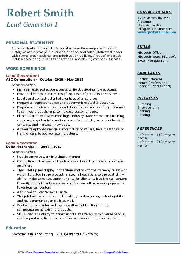Lead Generator I Resume Format