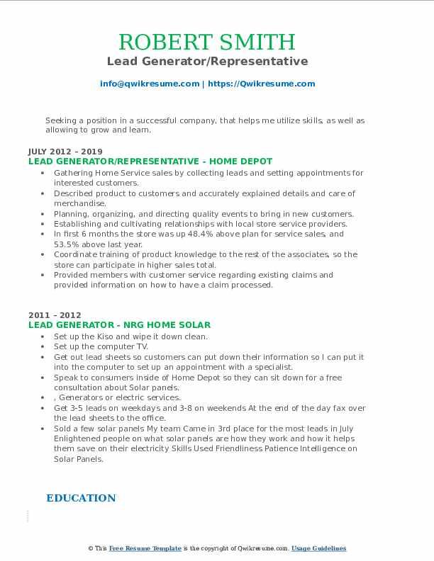 Lead Generator/Representative Resume Sample