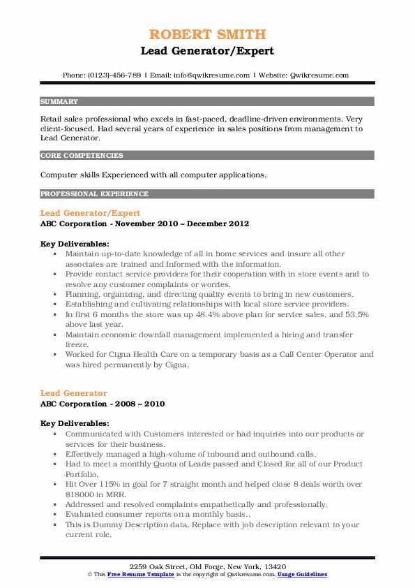 Lead Generator/Expert Resume Sample