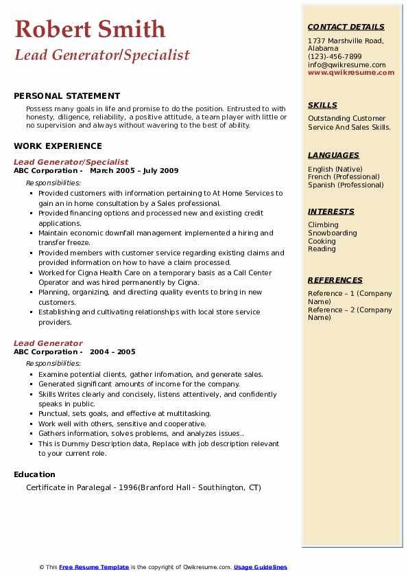 Lead Generator/Specialist Resume Template