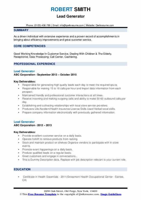 Lead Generator Resume example
