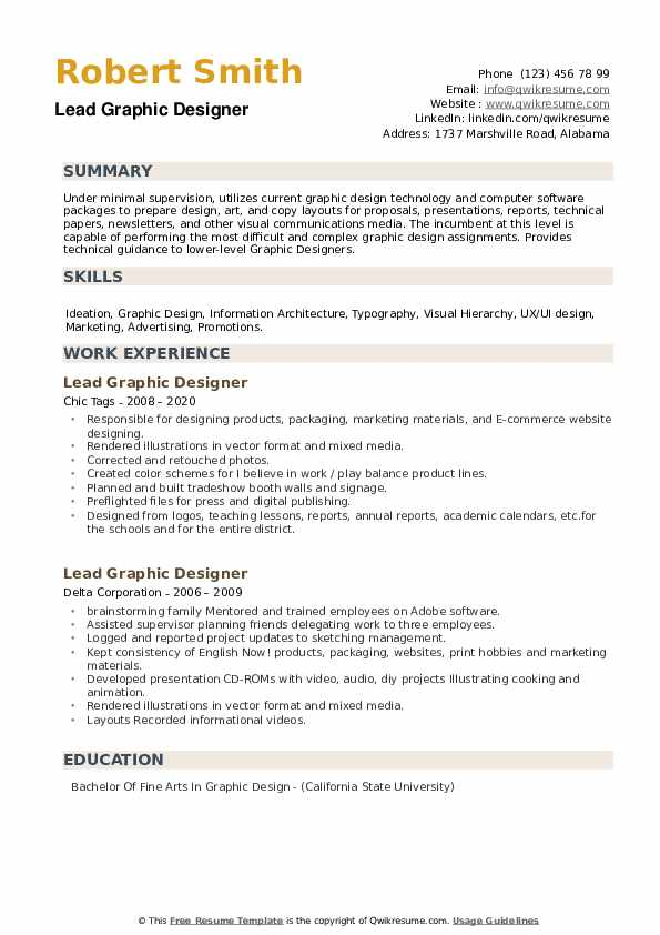 Lead Graphic Designer Resume Samples Qwikresume