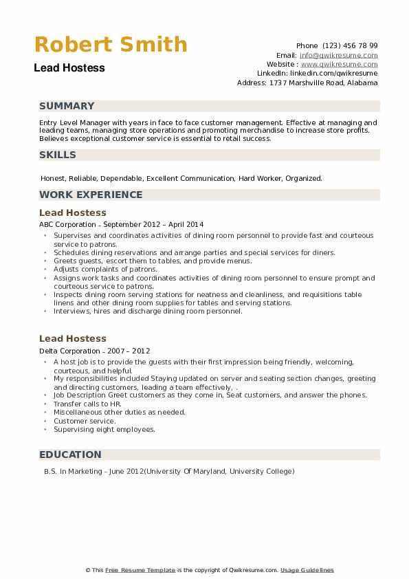 Lead Hostess Resume example