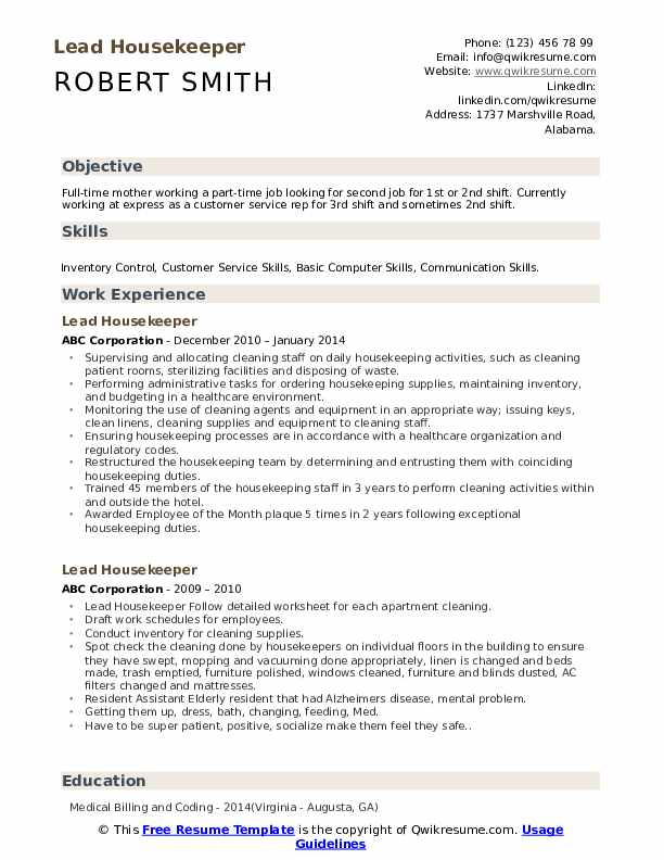 Lead Housekeeper Resume Samples Qwikresume