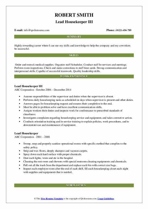 lead housekeeper resume samples