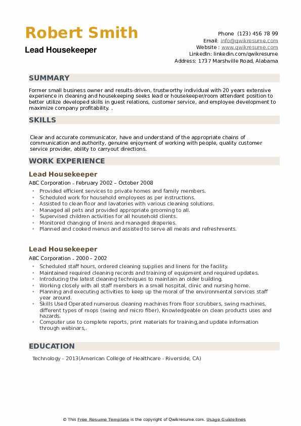 Lead Housekeeper Resume example
