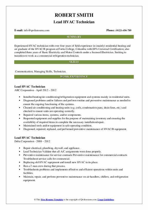 Lead Hvac Technician Resume Samples