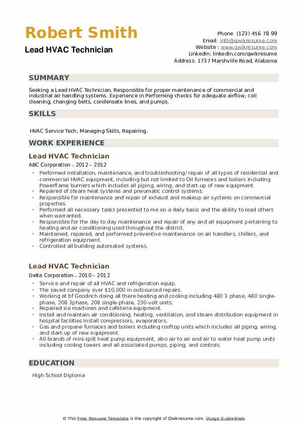 Lead HVAC Technician Resume example
