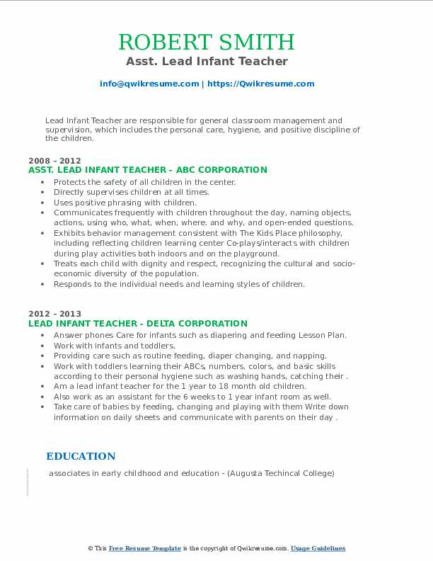 lead infant teacher resume samples