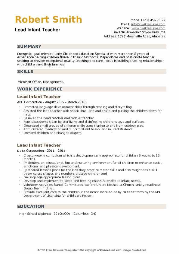 Lead Infant Teacher Resume example