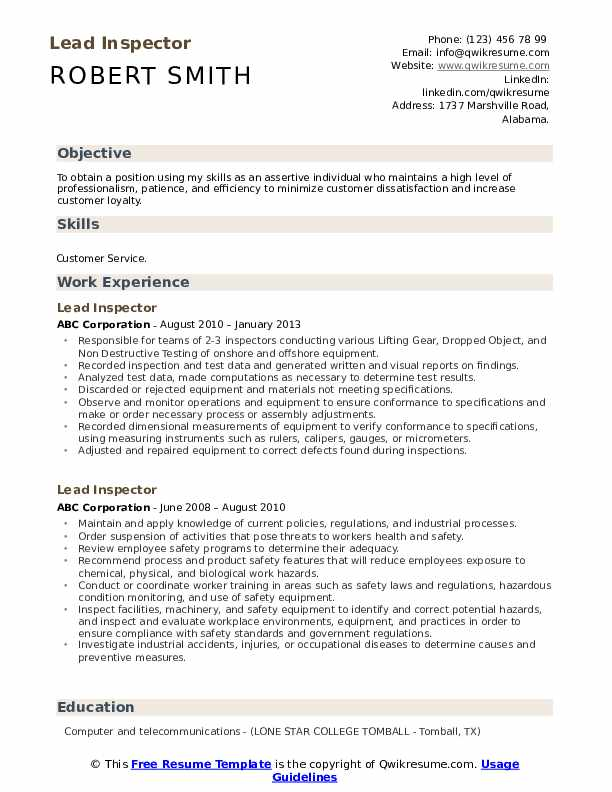Lead Inspector Resume Samples Qwikresume