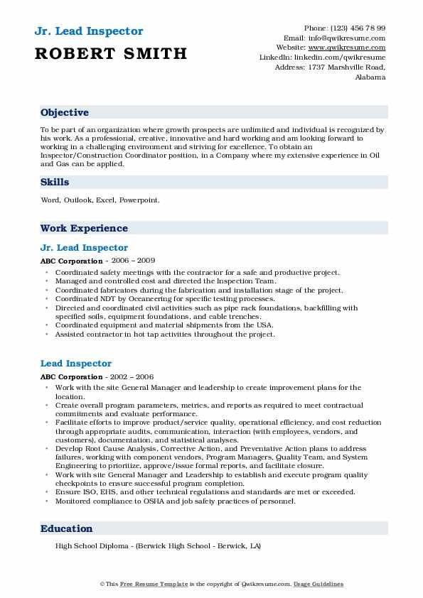 lead inspector resume samples