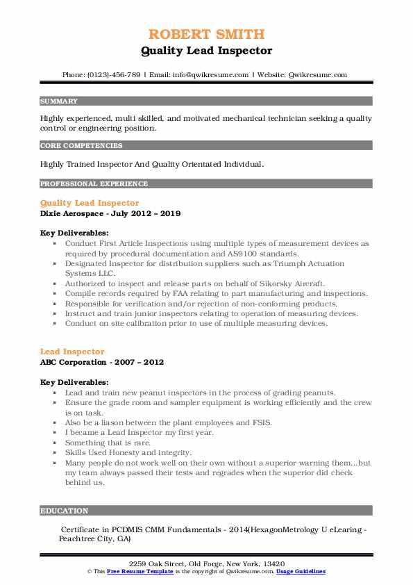 Quality Lead Inspector Resume Template