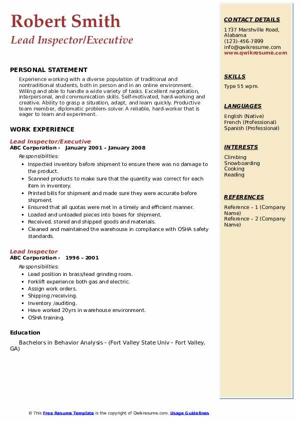 Lead Inspector/Executive Resume Example