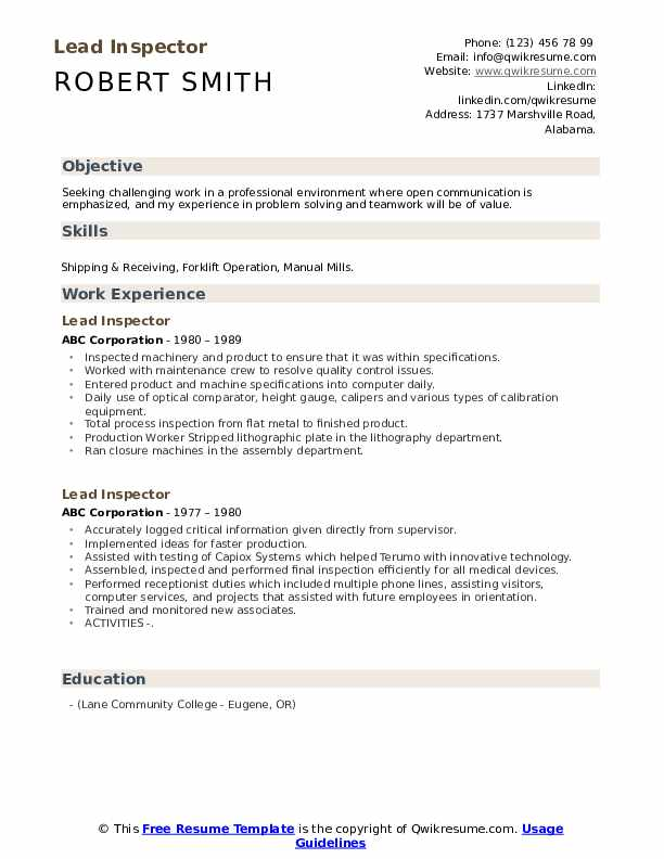 Lead Inspector Resume example