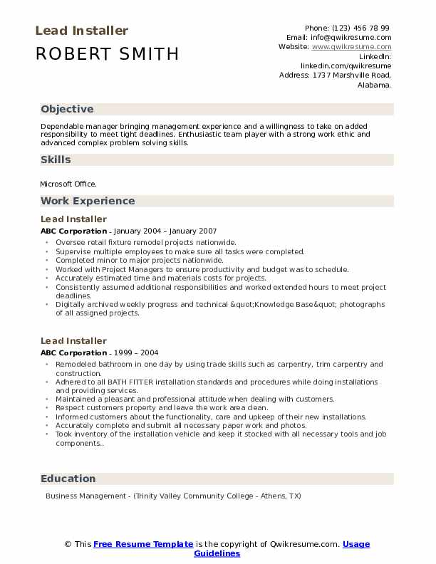 Lead Installer Resume example