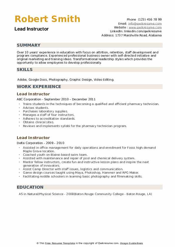 Lead Instructor Resume example
