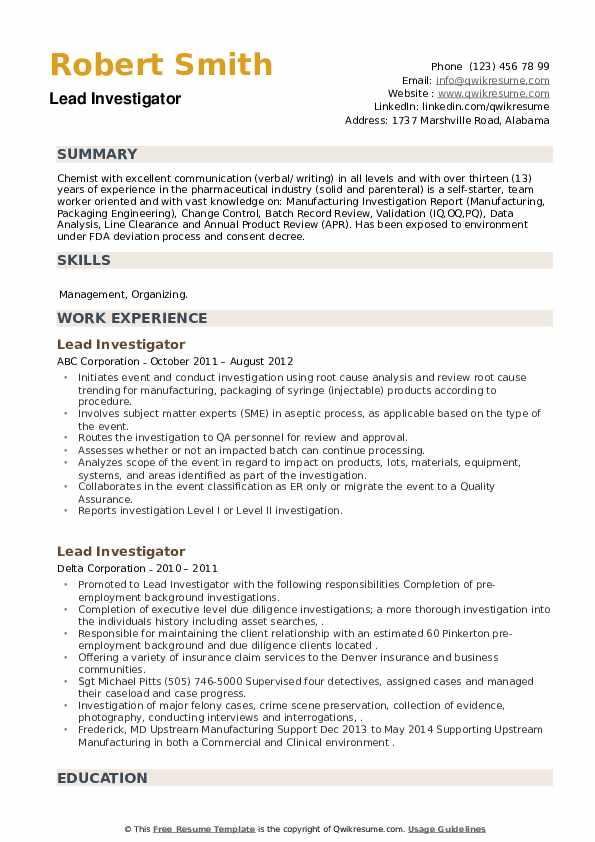 Lead Investigator Resume example