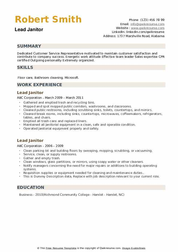 Lead Janitor Resume example