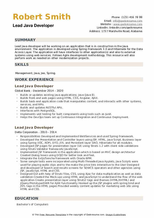 Lead Java Developer Resume example