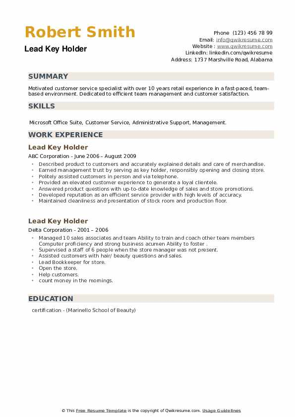 Lead Key Holder Resume example
