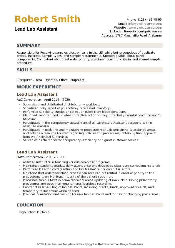 Lead Lab Assistant Resume example