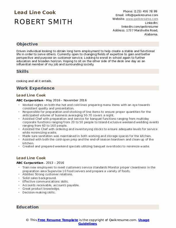 Lead Line Cook Resume Model