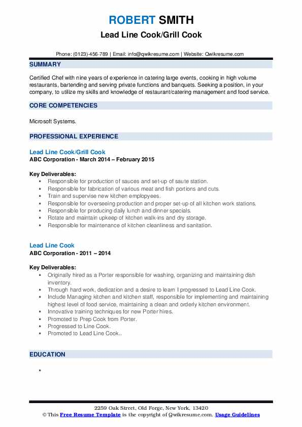 Lead Line Cook/Grill Cook Resume Sample