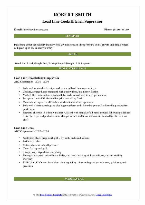 Lead Line Cook/Kitchen Supervisor Resume Format