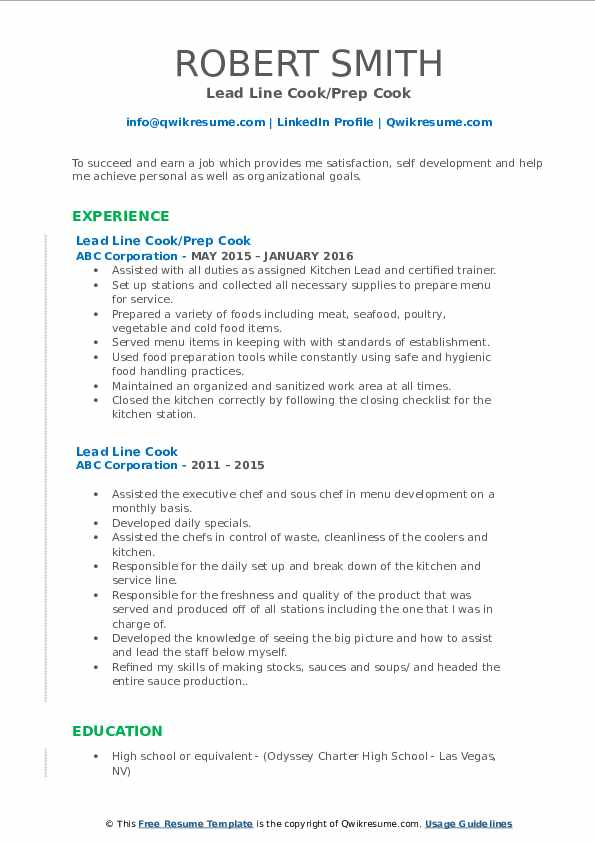 Lead Line Cook Resume Samples Qwikresume