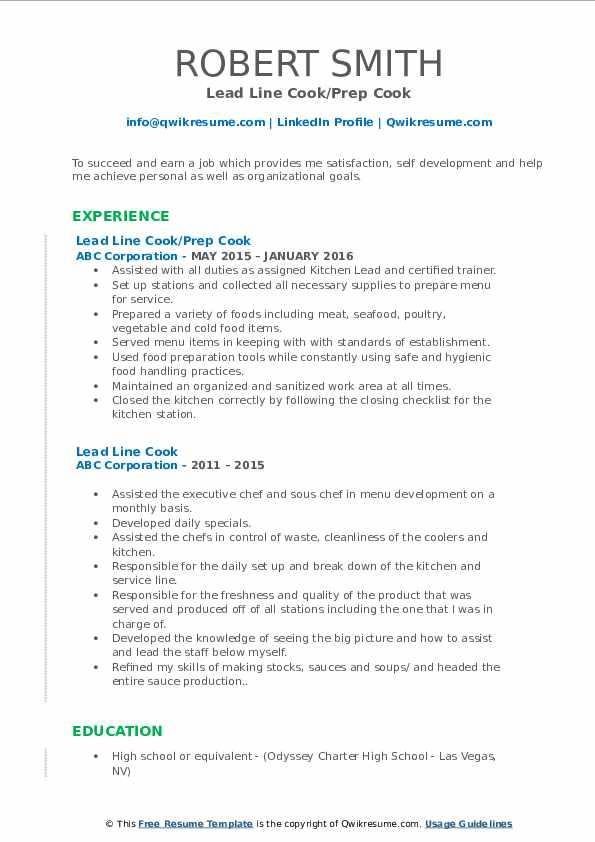 Lead Line Cook/Prep Cook Resume Model