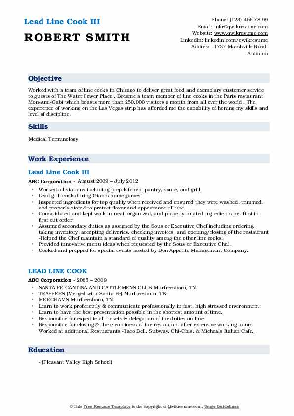lead-line-cook-1563341483-pdf Team Lead Resume Format Sample on job application, for high school students,