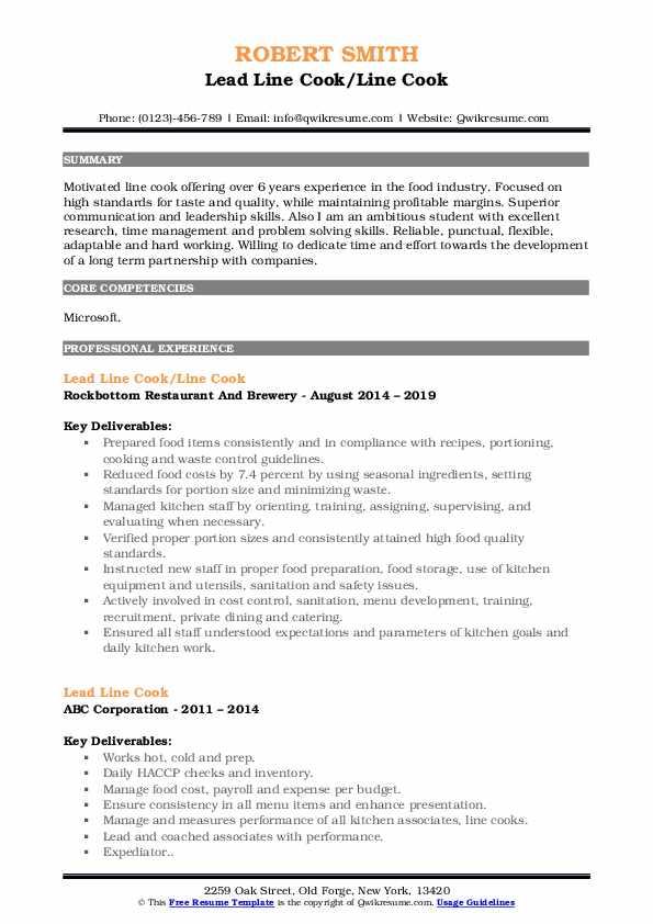 Lead Line Cook/Line Cook Resume Sample
