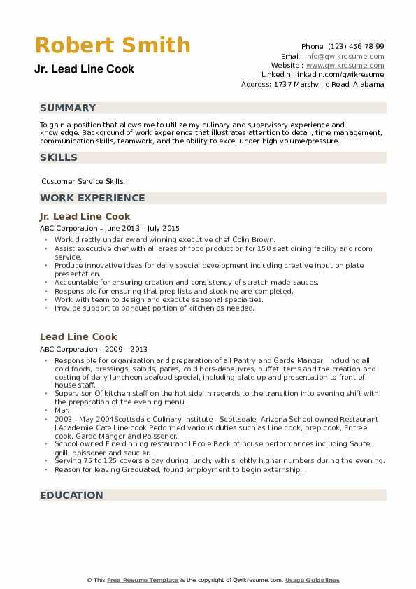 Jr. Lead Line Cook Resume Format