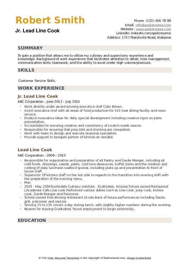 lead line cook resume samples