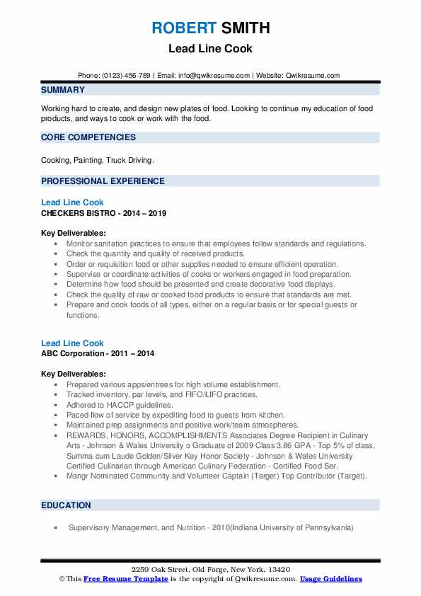 Lead Line Cook Resume example