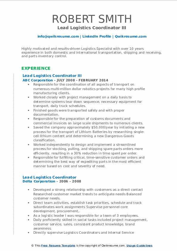 lead logistics coordinator resume samples  qwikresume